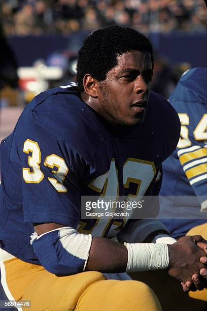 Running back Tony Dorsett of the University of Pittsburgh Panthers on the sideline during a game at Pitt Stadium in November 1976 in Pittsburgh...