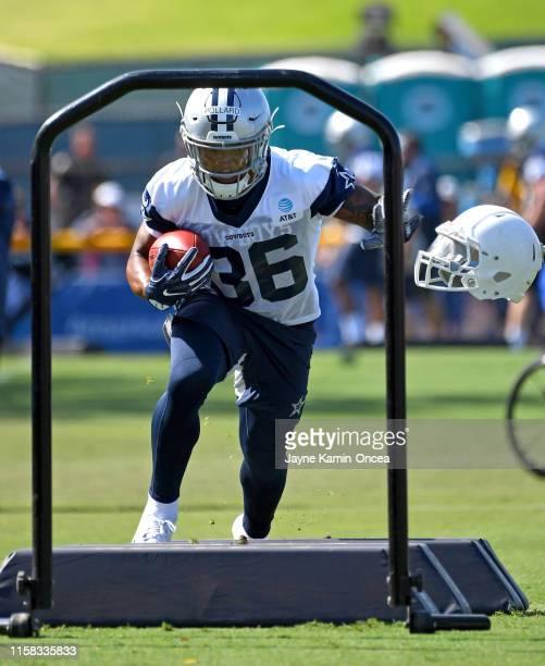 Running back Tony Pollard of the Dallas Cowboys runs drills during training camp on July 28 2019 in Oxnard California
