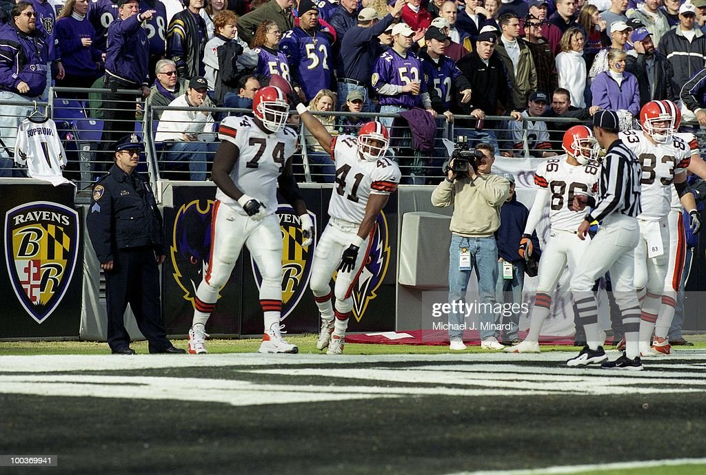 Running Back Travis Prentice #41 of the Cleveland Browns ran a Touch Down into the end zone for the Browns during a NFL game against the Baltimore Ravens with the help of his teammate Offensive Lineman James brown #74 at PSINet Ravens Stadium on November 26, 2000 in Baltimore, Maryland. The Ravens defeated the Browns 44 to 7.