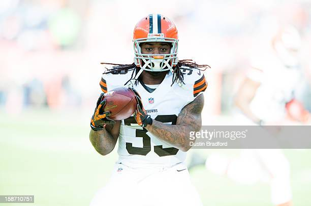 Running back Trent Richardson of the Cleveland Browns as he warms up before a game against the Denver Broncos at Sports Authority Field at Mile High...