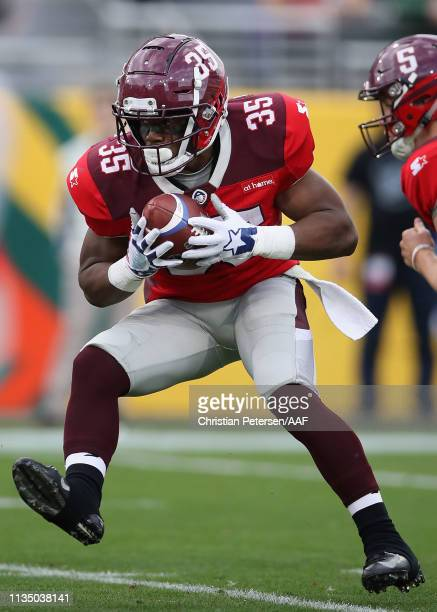 Running back Trey Williams of the San Antonio Commanders rushes the football against he Arizona Hotshots during the AAF game at Sun Devil Stadium on...