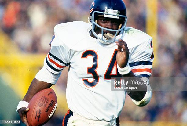 Running back Walter Payton of the Chicago Bears carries the ball during an NFL football game circa 1980 Payton played for the Bears from 197587