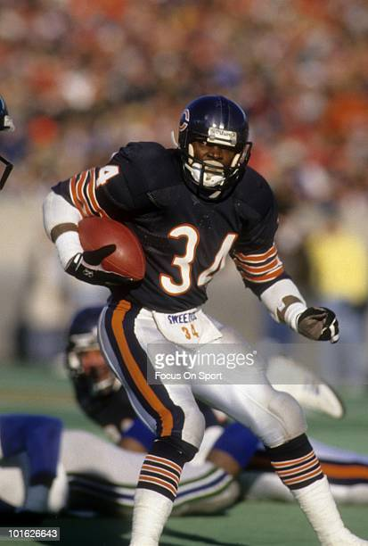 Running back Walter Payton of the Chicago Bears in action carries the ball against the Seattle Seahawks November 5, 1978 during an NFL football game...