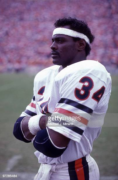 Running back Walter Payton of the Chicago Bears looks on from the side line area during their NFL game against the Tampa Bay Buccaneers at Tampa...