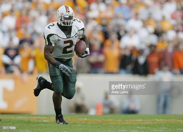 Running back Willis McGahee of Miami carries the ball during the game against the Tennessee on November 9 2002 at the Neyland Stadium in Knoxville...