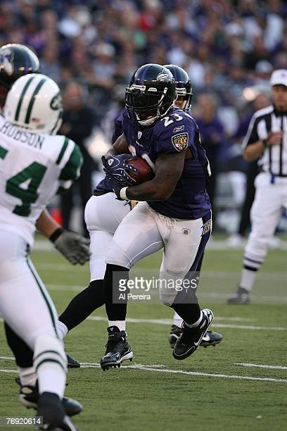 Running Back Willis McGahee of the Baltimore Ravens runs for a short gain against the New York Jets at M&T Bank Stadium in Baltimore, Maryland. The...