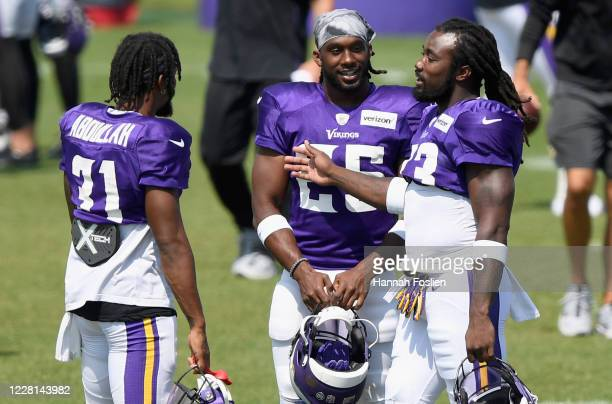 Running backs Ameer Abdullah, Alexander Mattison and Dalvin Cook of the Minnesota Vikings during training camp on August 21, 2020 at TCO Performance...