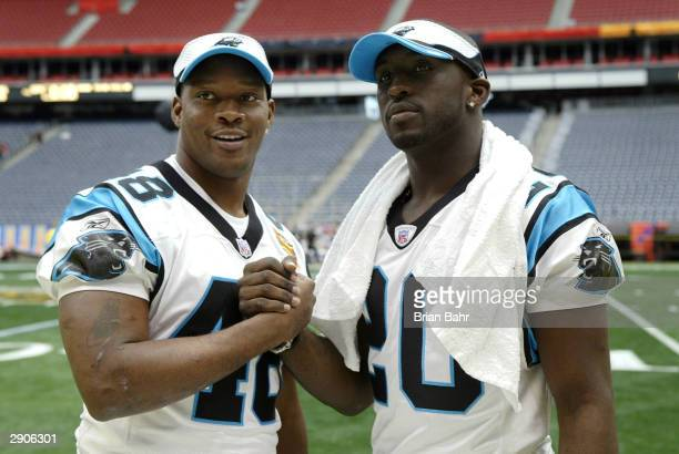 Running backs Stephen Davis and DeShaun Foster of the Carolina Panthers pose for a photo on media day January 26, 2003 at Reliant Stadium before...