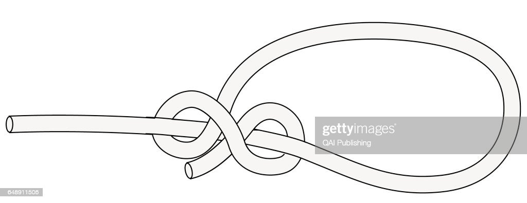 running bowline  knot pulled tight around an object to