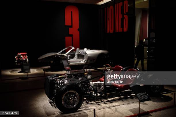 A running chassis for the Ferrari 250 LWB a Ferrari 488 GTB eight Cylinder engine 2015 and the chassis for a Ferrari 458 Spider 2011 on display at...