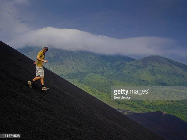 Running down the black volcano in Nicaragua
