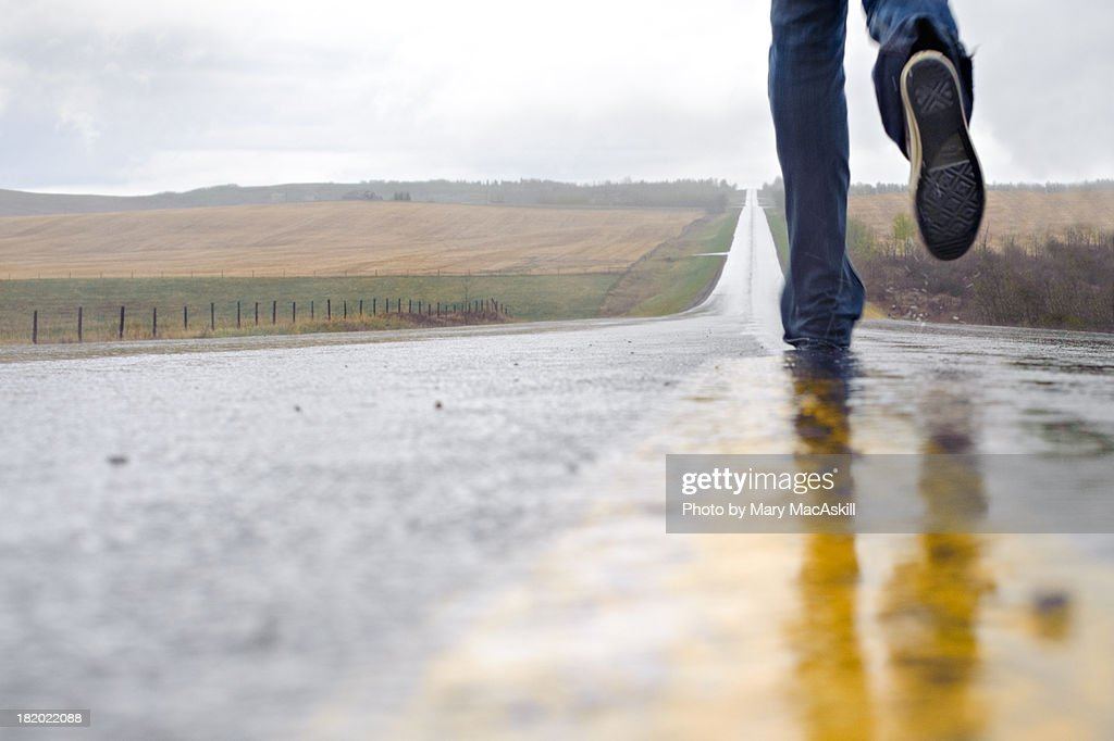 Running Down the Highway : Stock Photo