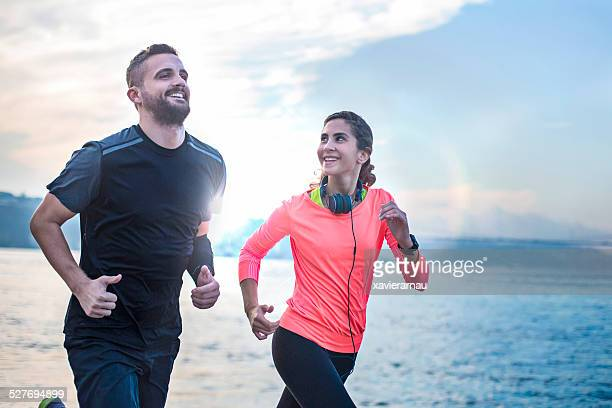 running early in the morning - jogging stock photos and pictures