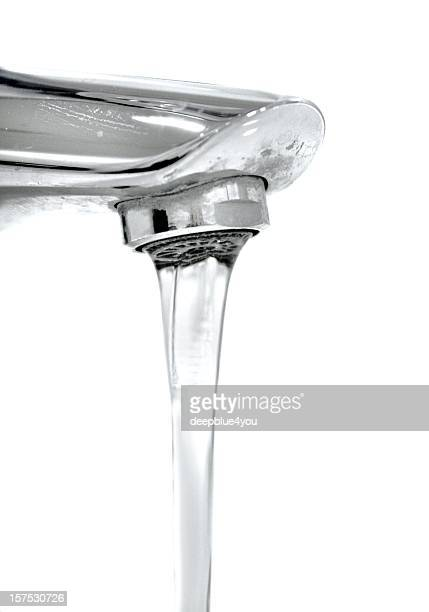 running faucet isolated on white - running water stock pictures, royalty-free photos & images