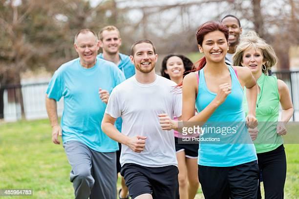 Running group enjoying their run