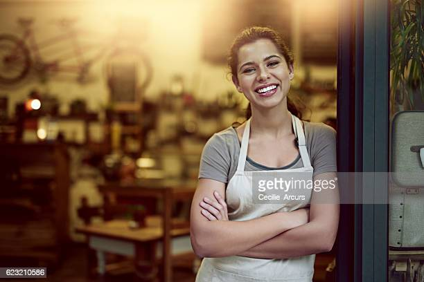 Running her cafe with confidence and a can do attitude