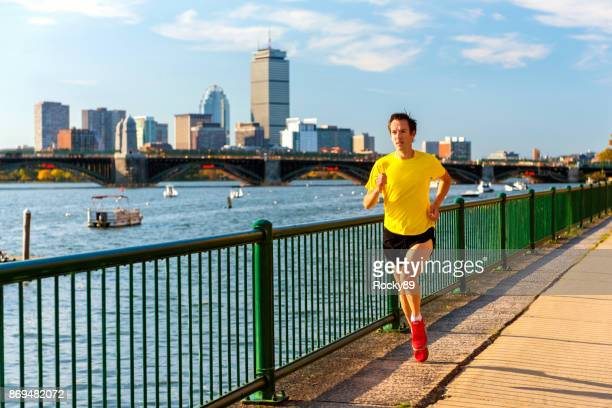 Running in Front of Boston's Skyline, USA