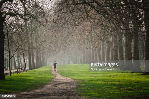 running in hyde park. - hyde park london stock photos and pictures