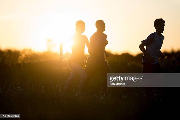 running in the setting sun - 5000 meter stock pictures, royalty-free photos & images