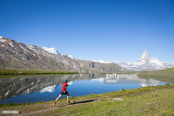 Running in the swiss alps