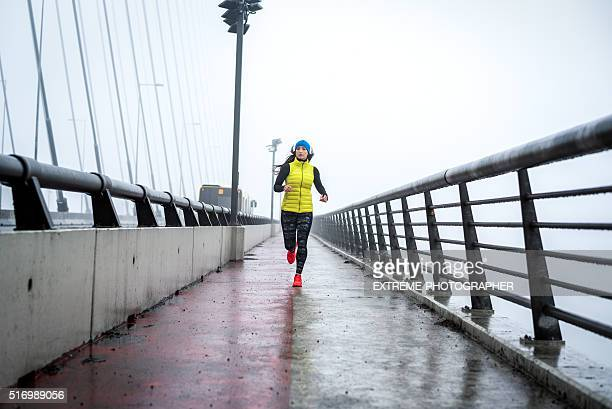 Running in the winter morning