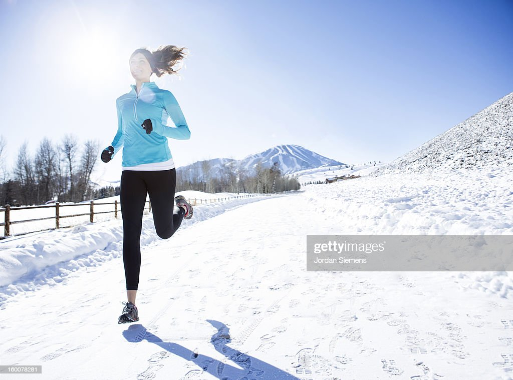 Running in the Winter. : Stock Photo