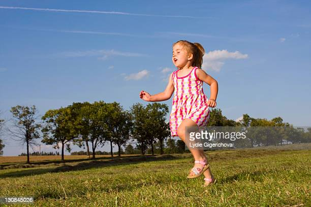 Running little girl, 3 years