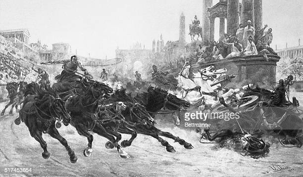 Running of a Roman Chariot Race Horse. Painting, 1890.