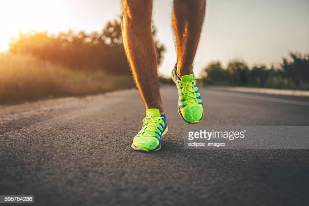 Running on asphalt road