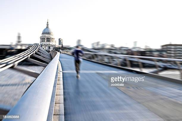 Running on London Millennium Bridge