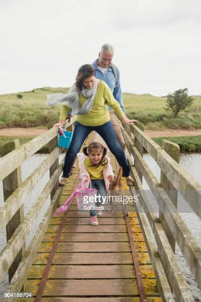 Running Over a Bridge With Grandparents