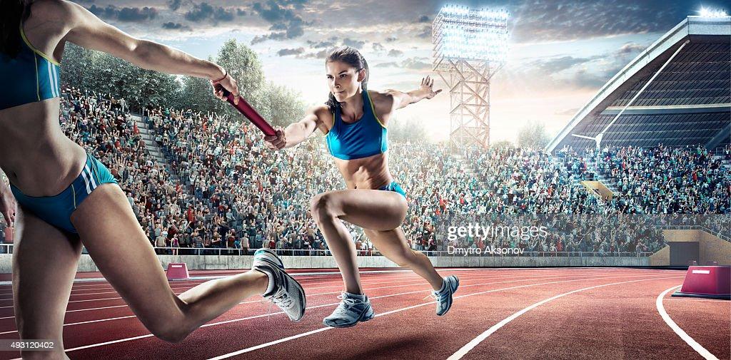 Running Pass on Olympic Stadium : Stock Photo