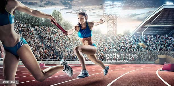 Running Fahren Sie auf dem Olympic Stadium