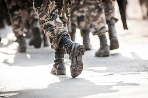 running soldiers carrying weapons 475000807
