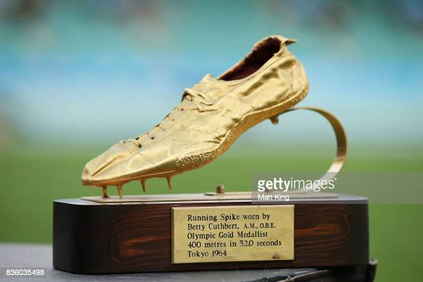 A running spike used by Betty Cuthbert is displayed during a State Memorial service for Betty Cuthbert at Sydney Cricket Ground on August 21 2017 in...