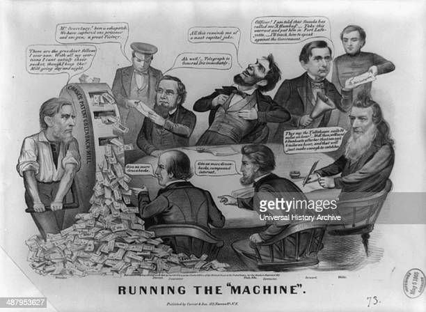 Running the machine by Currier Ives 1864 scathing attack on the ineptness of the Lincoln administration cartoon derives its title from an indiscreet...