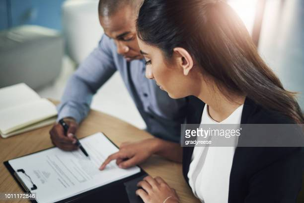 running through the big contract - form filling stock photos and pictures