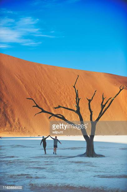 running together between sand dune and dead vlei trees - dead vlei namibia stock pictures, royalty-free photos & images