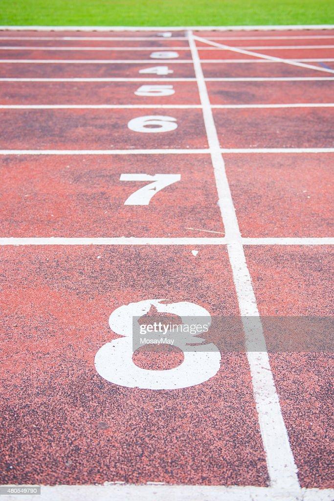 Running track in outdoor stadium : Stock Photo