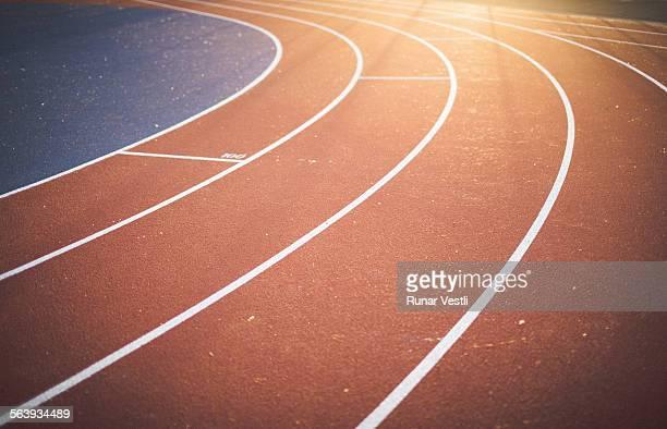Running track in warm evening light