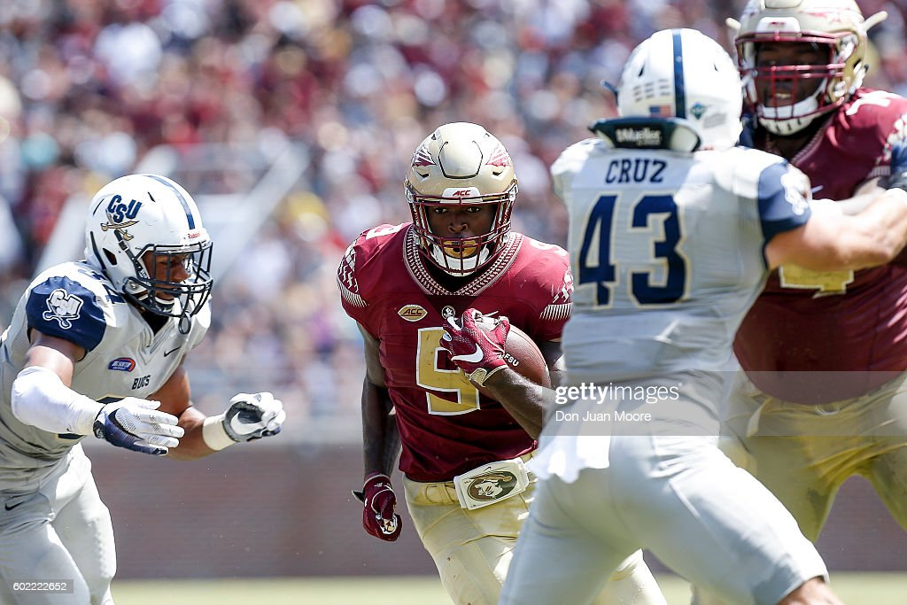Runningabck Jacques Patrick #9 of the Florida State Seminoles on a running play during the game against the Charleston Southern Buccaneers at Doak Campbell Stadium on Bobby Bowden Field on September 10, 2016 in Tallahassee, Florida. The 3rd ranked Florida State defeated Charleston Southern 52 to 8.