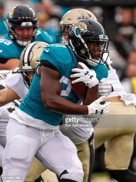 Runningack Leonard Fournette of the Jacksonville Jaguars on a running play during a preseason game against the New Orleans Saints at TIAA Bank Field...