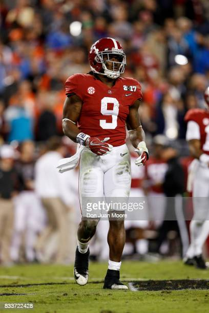 Runningback Bo Scarbrough of the Alabama Crimson Tide during the 2017 College Football Playoff National Championship Game against the Clemson Tigers...