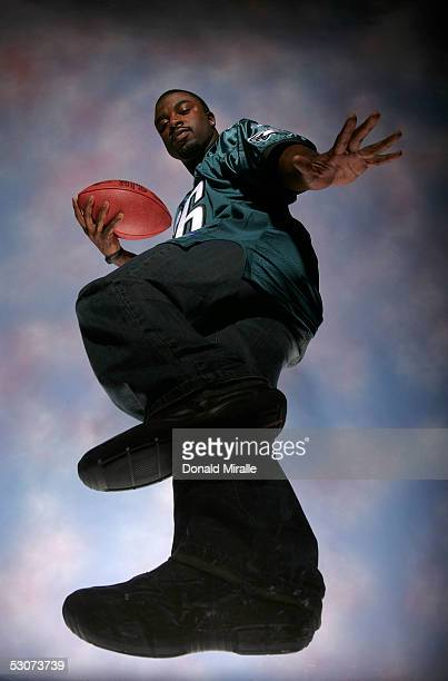 Runningback Brian Westbrook of the Philadelphia Eagles poses for a portrait during the NFL Players Association Portrait Session at the Mayflower...