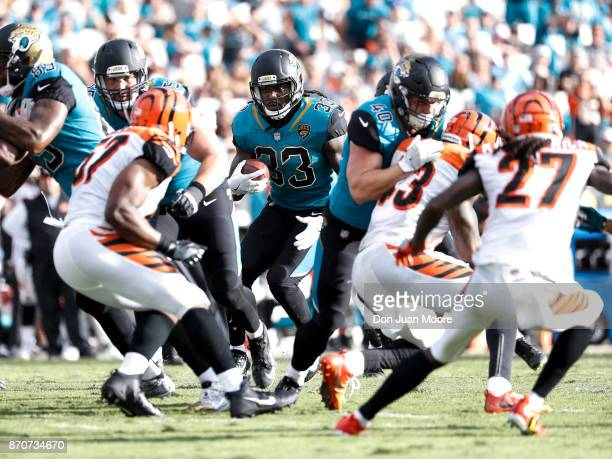 Runningback Chris Ivory of the Jacksonville Jaguars on a running play up the middle during the game against the Cincinnati Bengals at EverBank Field...