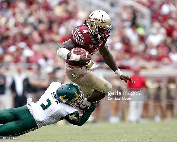 Runningback Dalvin Cook of the Florida State Seminoles avoids a tackle by Cornerback Jamie Byrd Jr #2 of the South Florida Bulls during the game at...