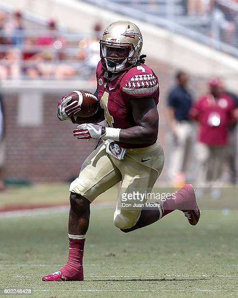 Runningback Dalvin Cook of the Florida State Seminoles on a running play during the game against the Charleston Southern Buccaneers at Doak Campbell...