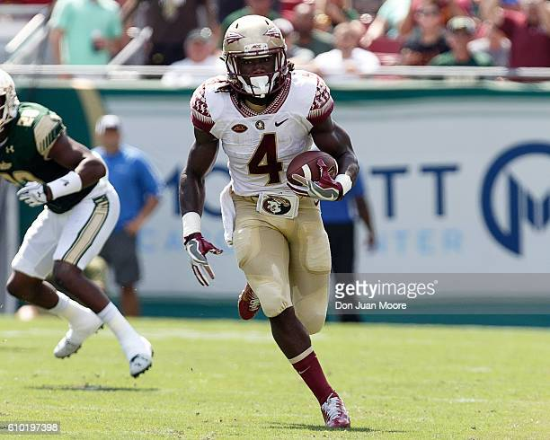 Runningback Dalvin Cook of the Florida State Seminoles on a running play during the game against the South Florida Bulls at Raymond James Stadium on...
