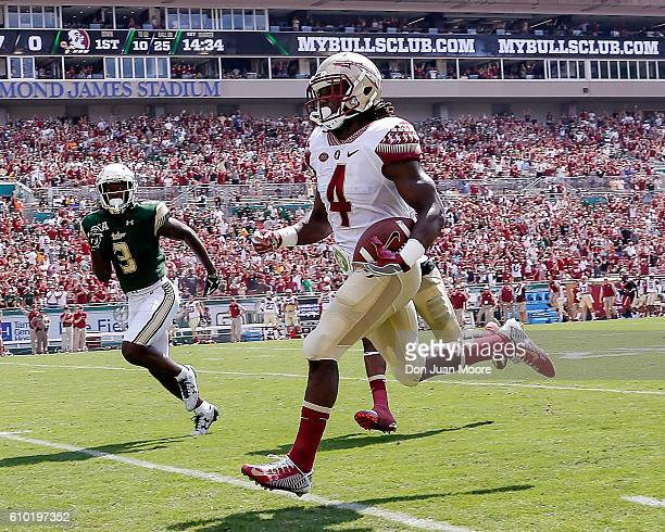 Runningback Dalvin Cook of the Florida State Seminoles runs in for a touchdown during the game against the South Florida Bulls at Raymond James...