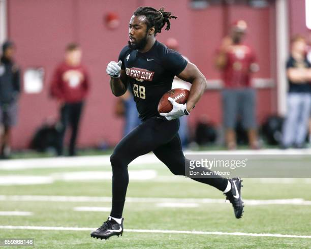 Runningback Dalvin Cook works out for NFL Scouts and Coaches during Florida State Pro Day at the Dunlap Training Facility on the campus of FSU on...